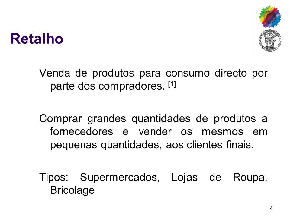 Retalho Venda de produtos para consumo directo por parte dos compradores. [1]